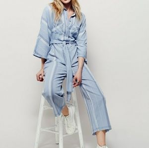 Free people sacred sands wrap jumpsuit in blue